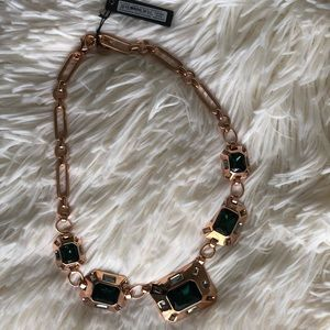Vince Camuto Rose Gold and Green Necklace